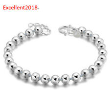 925 Sterling Silver 5 mm Ball Beaded Bracelet Hook Clasp Bangle Cuff For Women