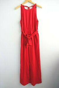 Zara Sleeveless Concealed Pockets Belted Linen Blend Red Overalls Jumpsuit sz M