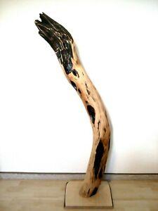 Große Deko Baumscheibe Baumstamm Skulptur Holz Kunst Robinie Statue Unikat 1,14m