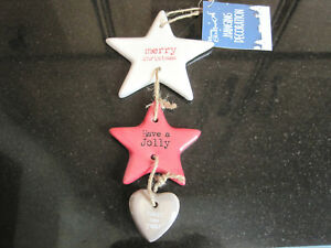 29cm STAR & HEART CERAMIC MERRY XMAS DECORATION DOOR HANGER JUTE LOOP DISPLAY