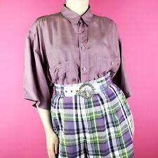 4e59a6b2f58f83 VINTAGE Purple Silk 90s Short Sleeve Mens Womens Oversize Blouse Shirt Top  XL