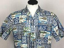 Royal Creations Large Blue Hawaiian Aloha Shirt Geometric Beach Canoe Hieroglyph