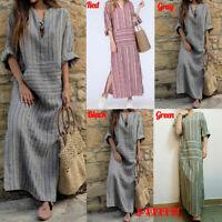 Bohemia Womens Kaftan Pinstriped Long Sleeve Striped Plus Long Maxi Dress S-5XL