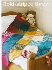 THROW BLANKET~BOLD-STRIPED THROW~CHILDS FUN COLOURS ~  KNITTING PATTERN~ (HK 40)