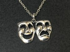 "Theater Mask Comedy Tragedy Charm Tibetan Silver 18"" Necklace BIN"