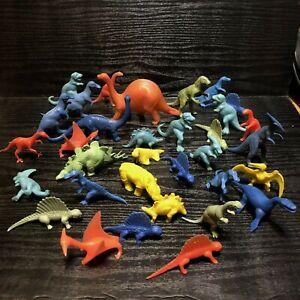 32 Vintage Dinosaur Plastic Toy Lot Assorted Colors Sizes Hollow Stegosaurus