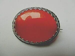 Edwardian  agate/silver brooch.