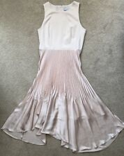 COAST NEUTRAL CHAMPAGNE PLEATED ASYMMETRIC ELLIPTICAL MAXI DRESS SIZE 16 WORN 1X