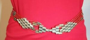 """Chico's Red Leather Belt Western Hipster Silver Buckle Braided Fits 35-39"""" Waist"""
