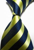 New Classic Stripes Beige Dark Blue JACQUARD WOVEN 100% Silk Men's Tie Necktie