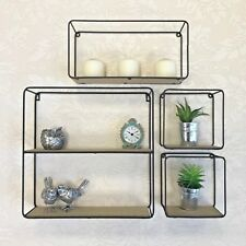 Set of 4 Wood Retro Industrial Style Black Wall Metal Wire Shelves Storage