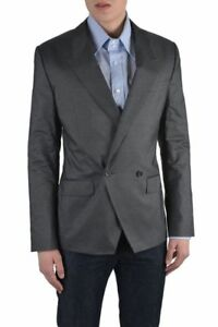 Dolce & Gabbana Men's Gray Striped Silk Double Breasted Blazer Size US 38 IT 48