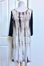 WOMEN (S) *NEW BEIGE TIE DYE SCOOP NECK 3/4 SLEEVES TOP DRESS