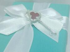Tiffany Co Red Enamel Trefoil Beaded Key Charm Pendant Necklace Silver 925 NEW