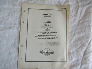 Briggs & Stratton 6A-HS engine parts list manual catalog