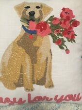 "Golden Retriever Holding Bouquet Embroidered 18""x18"" White Accent Pillow"