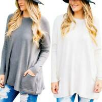 Plus Size Womens Long Sleeve T-Shirt Lady Solid Batwing Sleeve Pocket Blouse Top