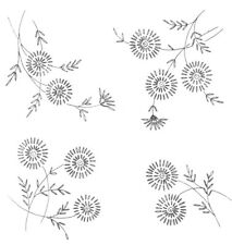 Vintage Visage iron on embroidery transfer daisy style flower sprigs -2 sheets