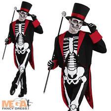 SIGNOR OSSO Jangle Da Uomo Skeleton Halloween Fancy Dress giorno dei morti Costume per adulti