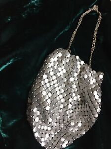 Vintage Mesh Whiting & Davis Co pouch bag - silver metal with chain