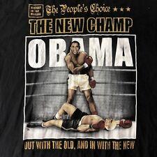 Vintage Barack Obama THE NEW CHAMP Boxing T-Shirt Black McCain TKO Democrat 3XL
