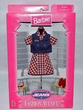 Nib-1997-Barbie Fashion Avenue-Authentic Jeans-Red Plaid Dress-Jean Vest-Glasses