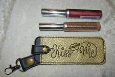HANDMADE GOLD & BLACK KISS ME LIP STAIN SNAP TAB LIPSTICK,, PURSE CHARM