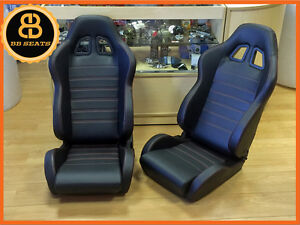 PAIR of BB4 Reclining Bucket Sports Seats Black / Red + Subframes CLASSIC MINI