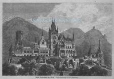 """""""Schloß Drachenburg"""" Auf dem Drachenfels in Königswinter. Orig. Holzstich v.1885"""
