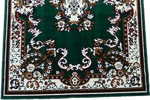 5x8 Area Rug Oriental Woven Carpet Red, Hunter Green Ivory Actual Size 5'2 x 7'2