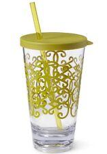 NEW~Starbucks Tazo Rococo Tumbler cold cup Straw Clear Lime Green 20 Oz 2012