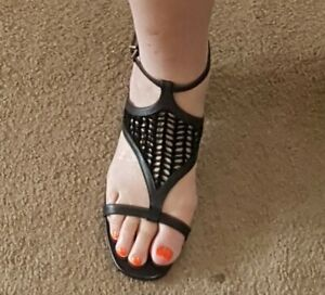 RMK Ladies suede and leather sandal black size 39
