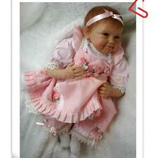 20inch Reborn Baby Simulation Lifelike Doll Vinyl Pink Dress Smile Baby Kid New