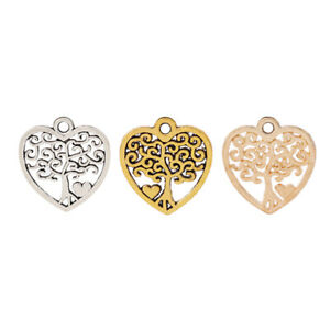 20 x Silver/Gold Tone Heart Love Tree Charms Pendants Beads for Jewellery Making