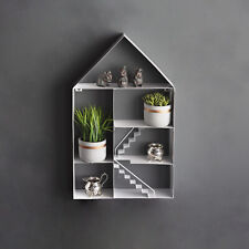 Large White Metal House Shaped Floating Wall Shelf Storage Unique Dolls Figures