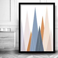 Geometric MOUNTAINS Art Print Poster MODERN Wall Decor Blue Copper Scandinavian