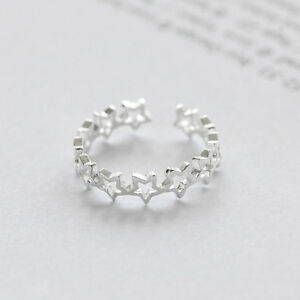 Silver Cute Star Adjustable Open Toe Midi Finger Knuckle Thumb Stacking Ring