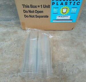 500 ct Shot Glasses 3oz Clear Plastic Disposable Cups Tumblers Containers