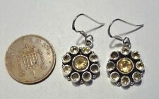 Gorgeous Sterling Silver & Citrine Dangley Drop Ear Rings