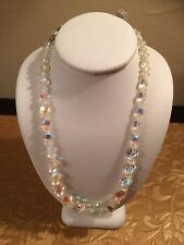 Vintage Single Strand Hook Clasp Iridescent Crystal Necklace