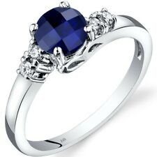 14K White Gold Created Sapphire Diamond Solstice Ring Size 7