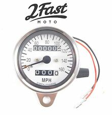 2FastMoto Chrome Speedometer w/Trip Odometer Fits 12mm Speedo Cables Motorcycle