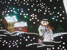 Lisa International Sweater Top Beaded Ugly Christmas Black Snowman Medium M SALE