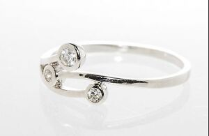 Sterling Silver 3 Circles CZ Cubic Zirconia Ring Sizes 4 5 6 7 8 9