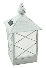 New Moonrays 91165 Solar Powered Lantern, Amber Led Light, White Washed Metal