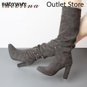 Women Winter Pleated  Knee Pearl High Heels Boots Long Shoes Large Size