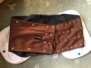 Glenndarcy Dog Belly Band Diaper SIZE XXL + THREE PADS chocolate brown POPPERS