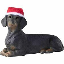Sandicast Lying Black Dachshund w/ Santa's Hat Christmas Dog Ornament