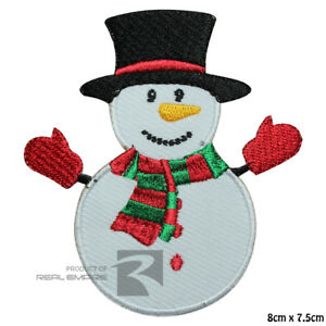 Snowman Christmas Xmas Iron on Sew on Embroidered Patch Badge For Clothes etc