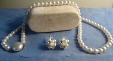 "Vtg 20"" Strand of Faux White Pearls with Pearl/Rhinestone Stud Earrings"